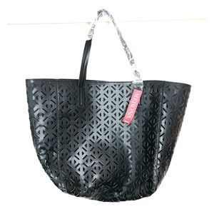 NWT Merona tote bag ebony Black perforated beach
